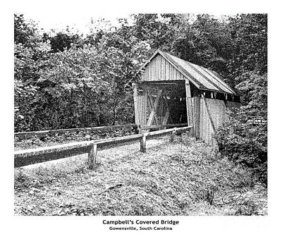 Mixed Media - Campbell's Covered Bridge - Architectural Renderings Detail by A Wells Artworks