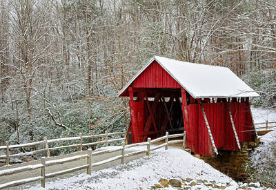 Campbells Covered Bridge Photograph - Campbell's Snow-covered Bridge by Johan Hakansson