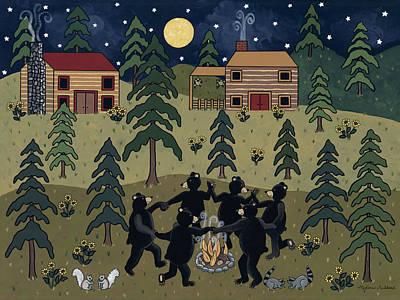 Cabin Painting - Campfire Dance by Medana Gabbard