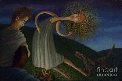 Figurative Painting - Campfire Serenade 2001 by Larry Preston