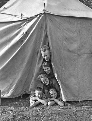 Camping Family Portrait Print by Underwood Archives