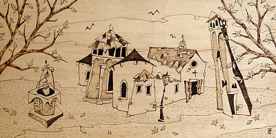 Pyrography Drawing - Campo San Giacomo Church Venice by Arte Venezia