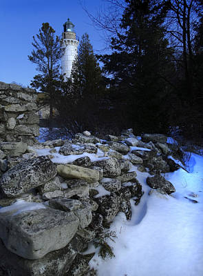 Cana Island Lighthouse Winter Blues Photograph By David T