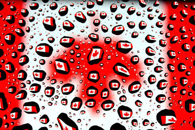 Surreal Photograph - Canada Flag In Water Drops by Paul Ge