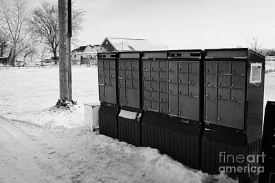canada post post mailboxes in rural small town Forget Saskatchewan Canada Print by Joe Fox