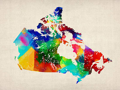Quebec Digital Art - Canada Rolled Paint Map by Michael Tompsett