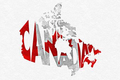 Canada Typographic Map Flag Print by Ayse Deniz
