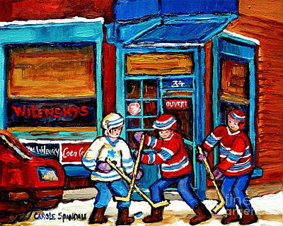 Canadian Art Wilensky Doorway Hockey Game Paintings Of Winter Montreal Street Scenes Carole Spandau Print by Carole Spandau