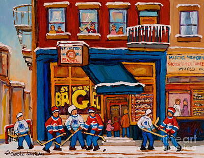 Montreal Bagels Painting - Canadian  Artists Paint Hockey And Montreal Streetscenes Over 500 Prints Available  by Carole Spandau