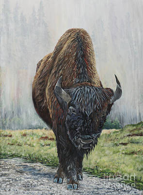 Canadian Bison Original by Marilyn  McNish