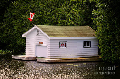 Boat Photograph - Canadian Boathouse  by Les Palenik