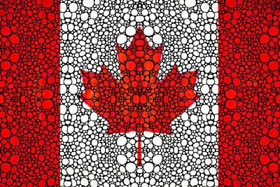 Canadian Flag - Canada Stone Rock'd Art By Sharon Cummings Print by Sharon Cummings