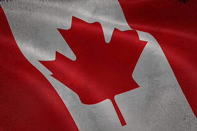Waving Flag Mixed Media - Canadian Flag Waving Aged Canvas by Eti Reid
