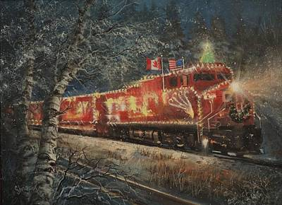 Winter Scenes Painting - Canadian Pacific Holiday Train by Tom Shropshire
