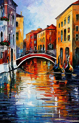 Canal In Venice - Palette Knife Oil Painting On Canvas By Leonid Afremov Original by Leonid Afremov