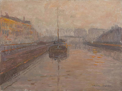 Canal With Barge  Print by Henri Duhem