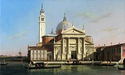 Temple Painting - Canaletto The Church Of S Giorgio Maggiore Venice With Sandalos And Gondolas  C 1748 by MotionAge Designs