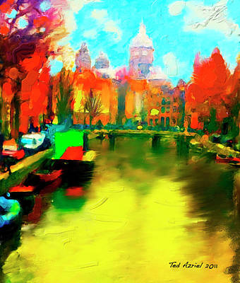 Canals Of Amsterdam Print by Ted Azriel
