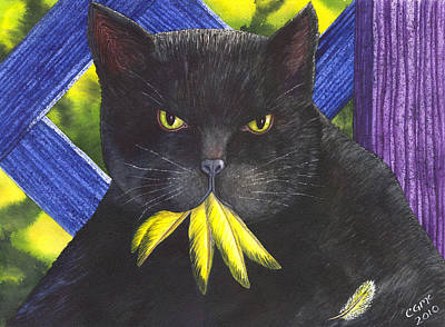 Wicked Kitty Painting - Canary? by Catherine G McElroy