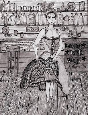 Barbara St. Jean Drawing - Cancan Dancer by Barbara St Jean