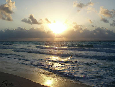 Rays Painting - Cancun Sunrise by Ellen Henneke