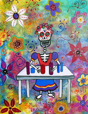 Skull Painting - Candelera Dia De Los Muertos by Pristine Cartera Turkus