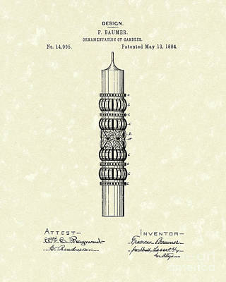 1884 Drawing - Candle Ornamentation 1884 Patent Art by Prior Art Design