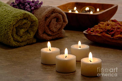 Holistic Photograph - Candles In A Spa by Olivier Le Queinec