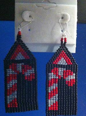 Earrings Jewelry - Candy Cane With Black Background Handwoven Earrings by Kimberly Johnson