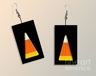 Candy Corn Paper Earrings Original by Melissa A Benson
