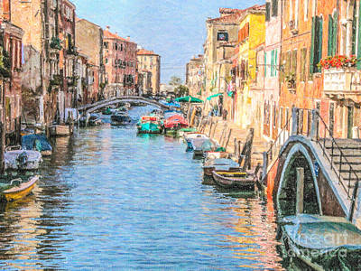 Architecture Digital Art - Cannareggio Canal Venice by Liz Leyden