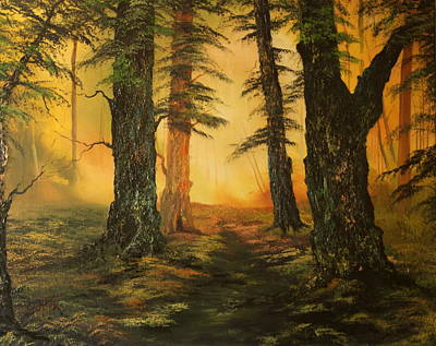 Forestry Painting - Cannock Chase Forest In Sunlight by Jean Walker
