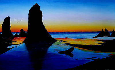 Cannon Beach At Sunset 15 Print by Portland Art Creations