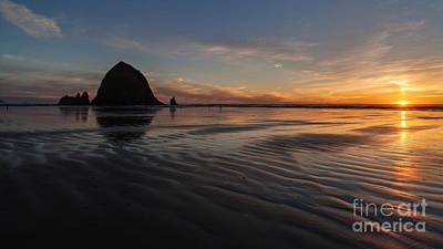 Cannon Beach Photograph - Cannon Beach Sunset Sand Waves by Mike Reid