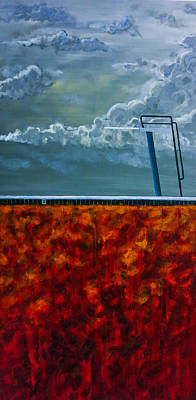 Diving Board Painting - Cannonball by Joel Tesch