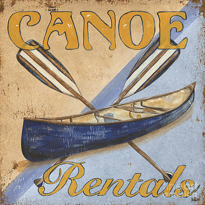 Wood Fish Painting - Canoe Rentals by Debbie DeWitt