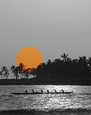 Canoe Digital Art - Canoe Ride In The Sunset by Athala Carole Bruckner
