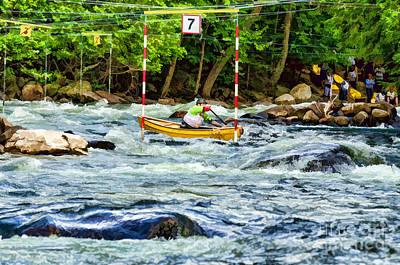 Canoe Photograph - Canoe Slalom Race by Les Palenik