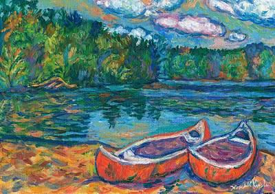 Canoes At Mountain Lake Sketch Original by Kendall Kessler