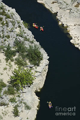 Canoes On The River Ardeche In Southern France Print by Bernard Jaubert