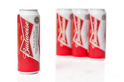 Cans Of Budweiser Beer Print by Amanda Elwell