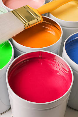Cans Of Colored Paint Print by Garry Gay