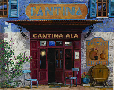 Wine Scene Painting - cantina Ala by Guido Borelli