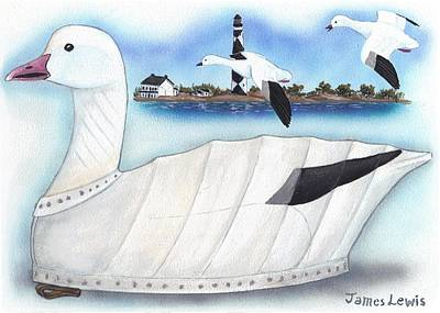 Canvas Snow Goose Decoy Print by James Lewis