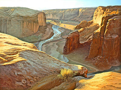 Navajo Painting - Canyon De Chelly by Paul Krapf