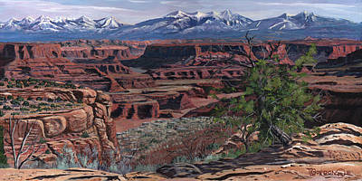 Sage Brush Painting - Canyon Lands by Timithy L Gordon