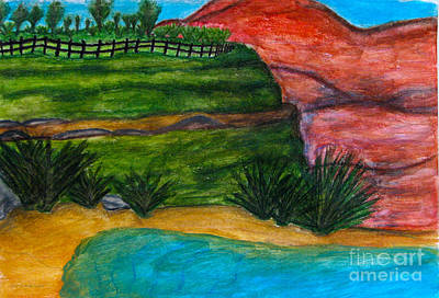 African American. Folk Art Painting - Canyon Overlook by Anita Lewis
