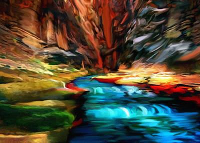 Rock Angels Digital Art - Canyon Waterfall Impressions by Bob and Nadine Johnston