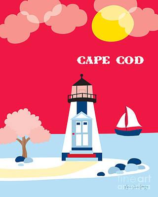 Framed Art Digital Art - Cape Cod Maine Skyline by Karen Young