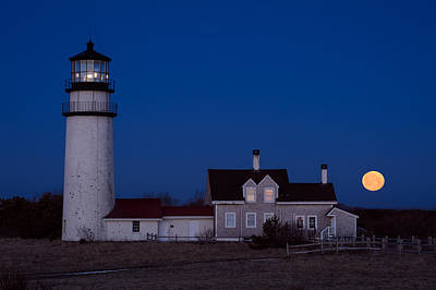 Cape Cod Moonset Print by Michael Blanchette